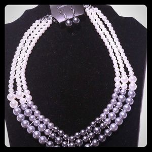 Layered pearl necklace with earrings